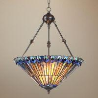 "Peacock Glass 3-Light 20"" Wide Tiffany Style Pendant Light ..."