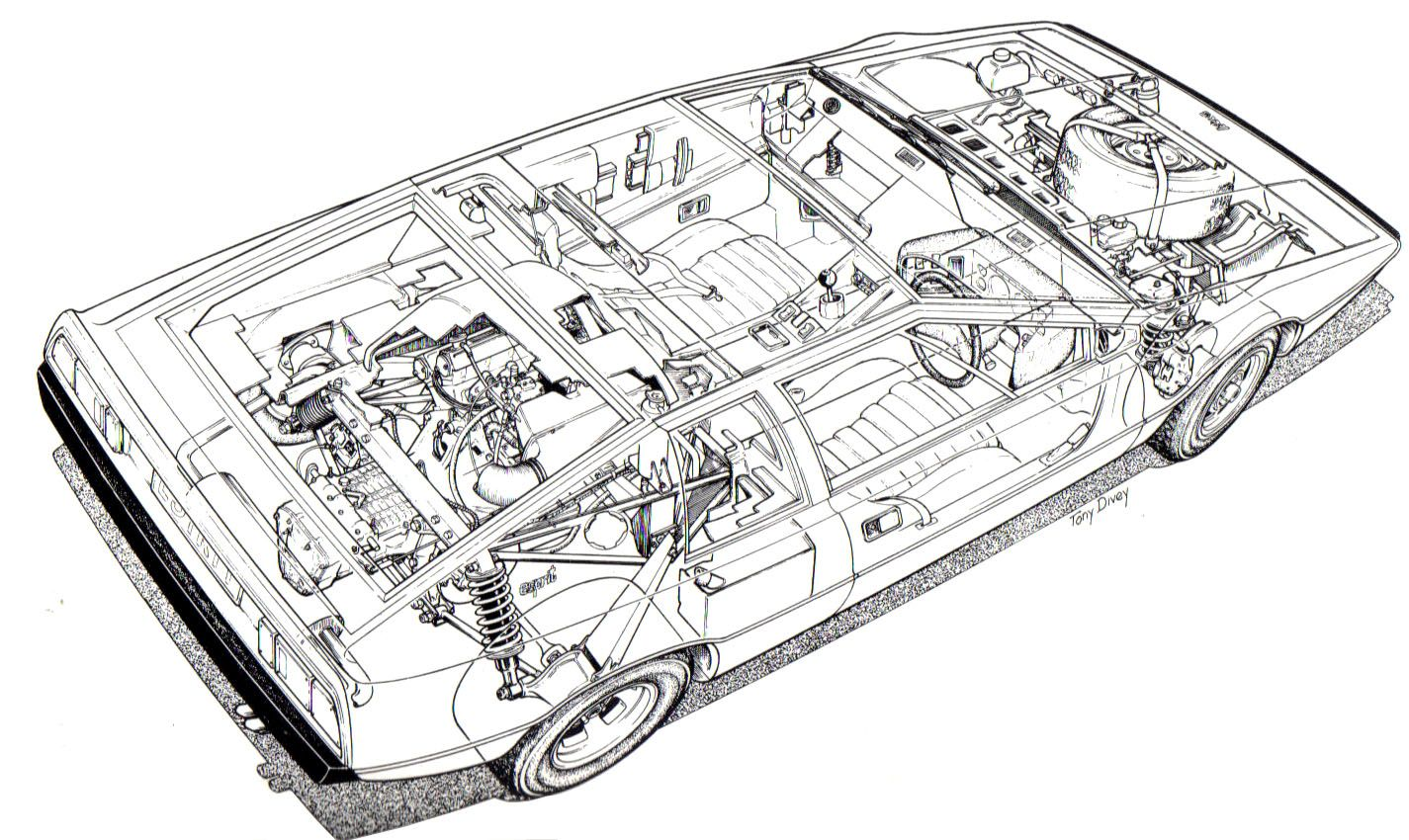 Lotus Esprit Prototype Cutaway Drawing Technical