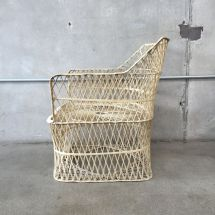 Spun Fiberglass Faux Wicker Chair