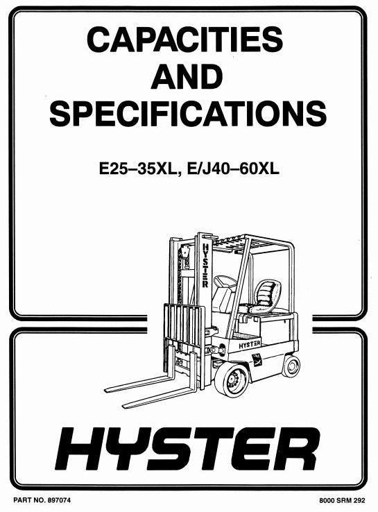 Hyster Forklift Truck Type C108: E2.00XL (E40XL), E2.50XL