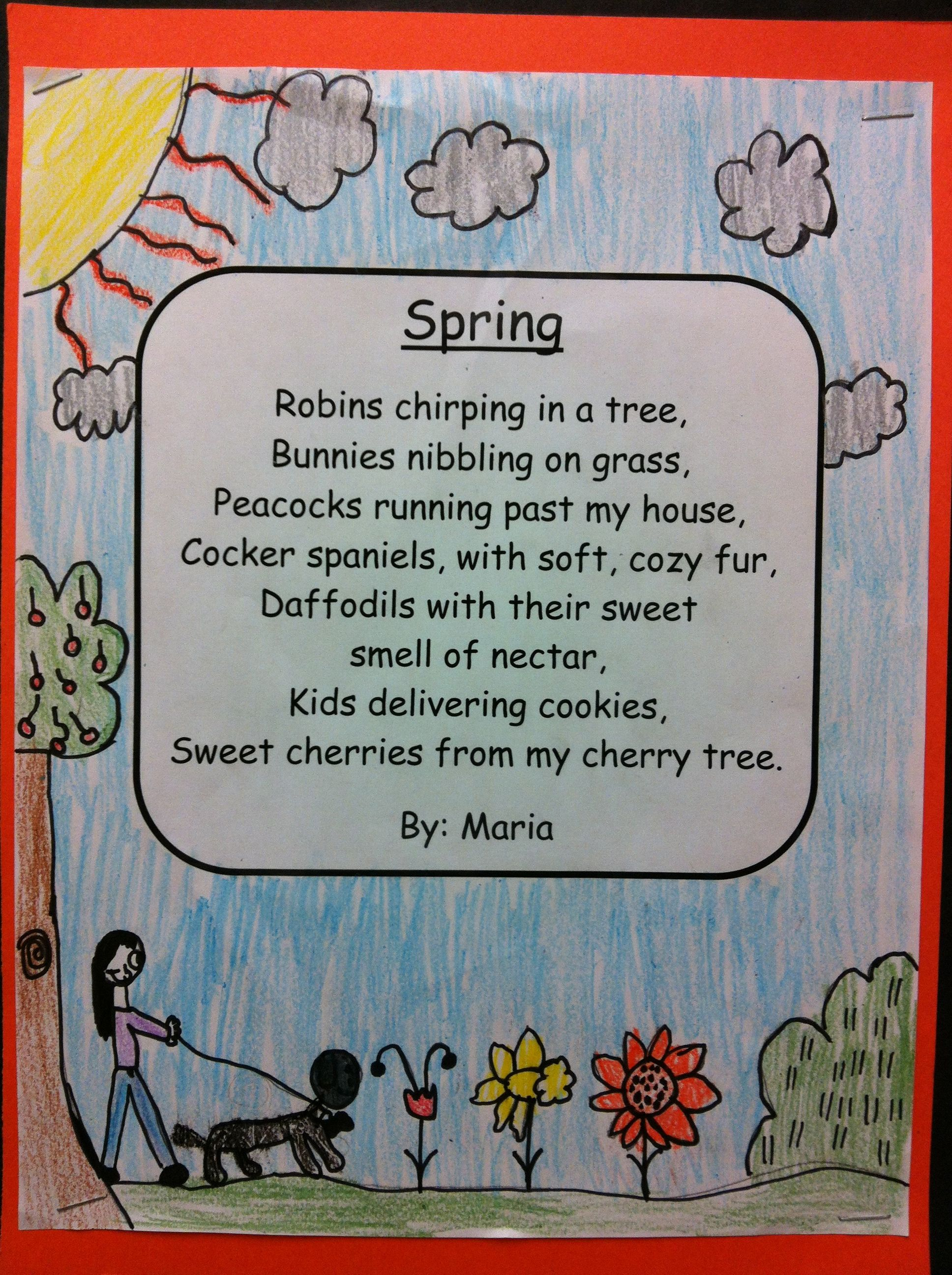 Spring Poetry Grade 1 The Students Were Given A