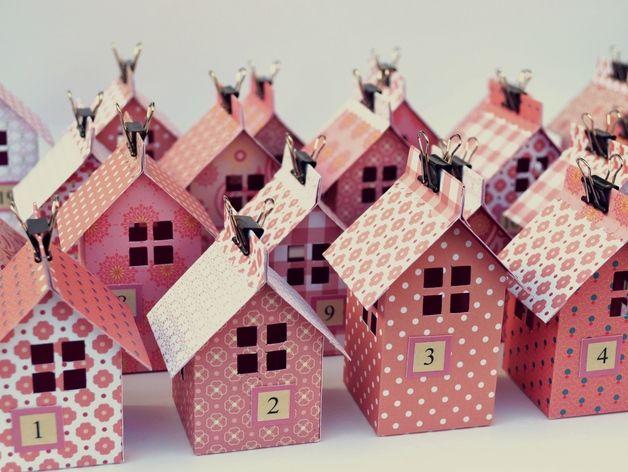 Häuschen-Adventskalender, rosa Adventskalender, Rosa häuser und Dawanda