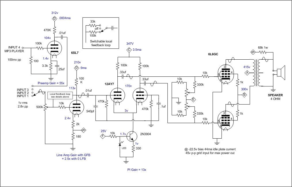 25w audio amplifier with tube schematic diagram
