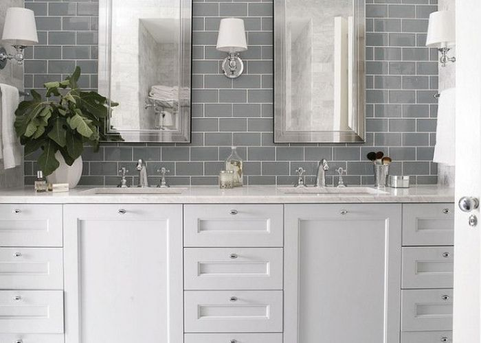 love subway tiles but this needs  pop of colour to really shine wall tile behind vanity heather garrett design bathrooms gray also best images about luckey house bathroom on pinterest toilets