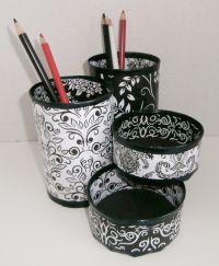 Desk Organizer / Pencil Holder made from upcycled cans ...