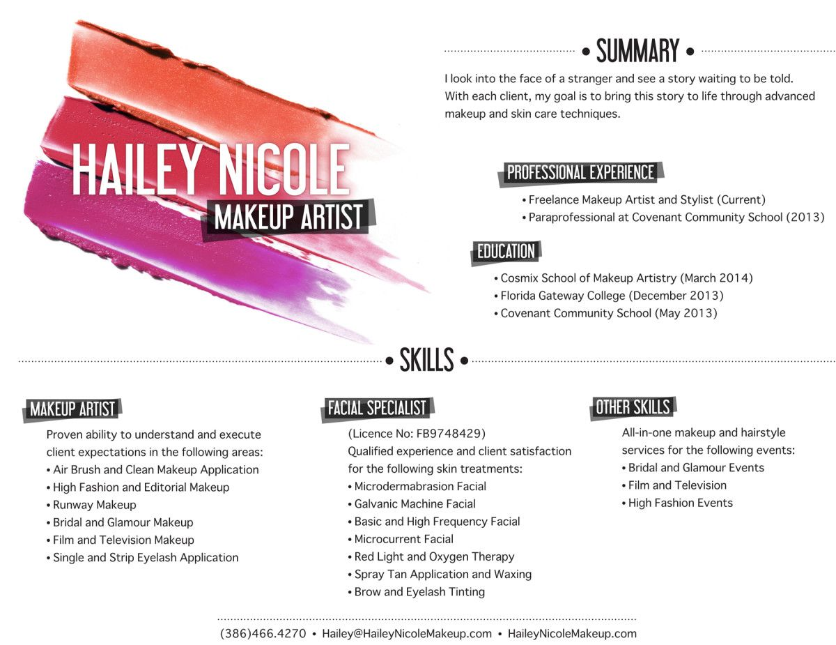 Resume Of Makeup Artist Makeup Artist Resume Google Search Pinteres