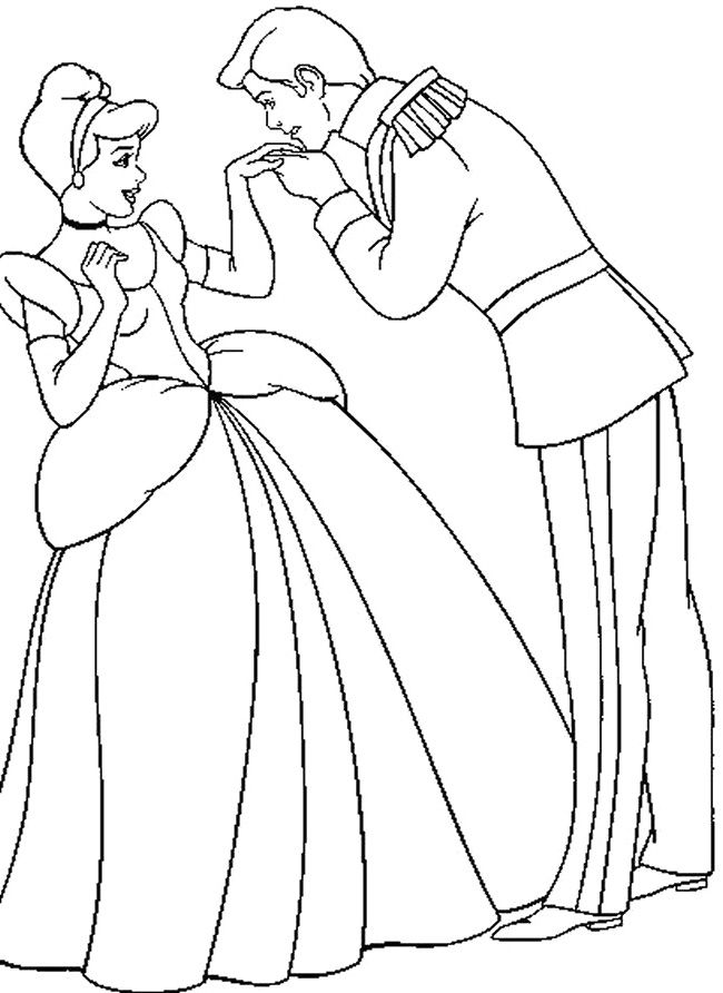 The Prince Kissing The Hand Of Cinderella Coloring Pages