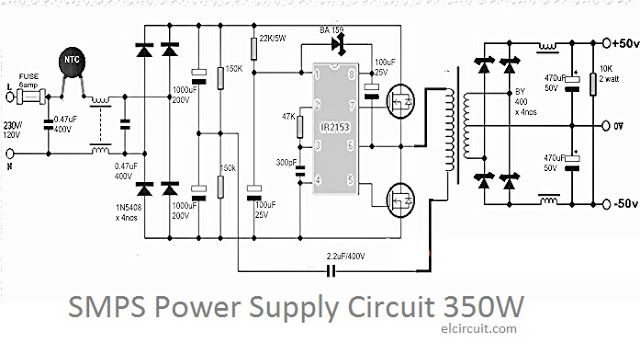 Electronic circuit of SMPS Power Supply power output up to