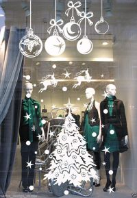 CHRISTMAS DECORATION STICKER / Shop Window Xmas Sign ...