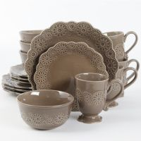 Gibson Elite Eyelet Lace 16 Piece Dinnerware Set, Brown