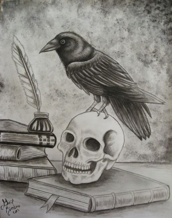 art raven skull ink books