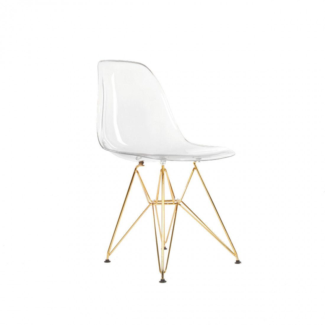 Clear Acrylic Chair Dsr Plastic Molded Eiffel Dining Chair Gold Legs And