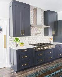 Navy blue cabinets, Stone Textiles Kitchen | Kitchen ...