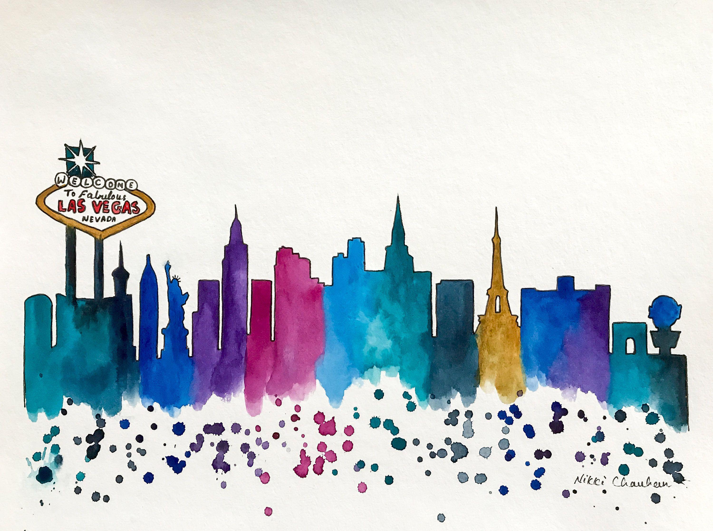 Las Vegas Skyline, Original Watercolor Painting