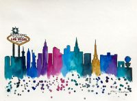 Las Vegas Skyline, Original Watercolor Painting