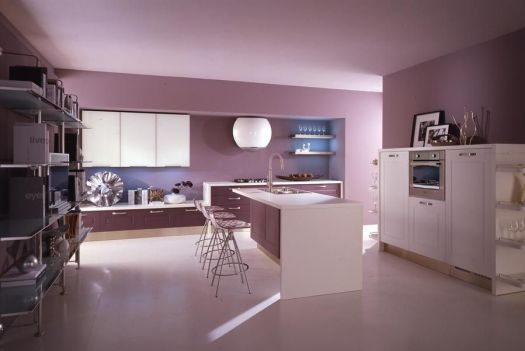 Cool Modern Kitchen With Sensual Purple Kitchens Designs Wall