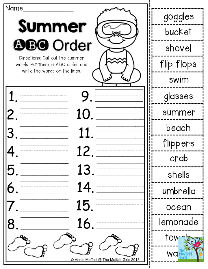 Summer ABC Order- Cut out the summer words. Put them in