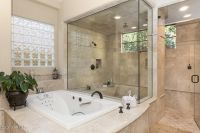 Traditional Master Bathroom with 2x2 Travertine Mosaic ...