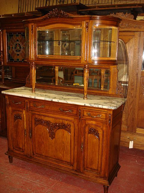 French Antique Carved Marble Top Buffet Sideboard Hutch