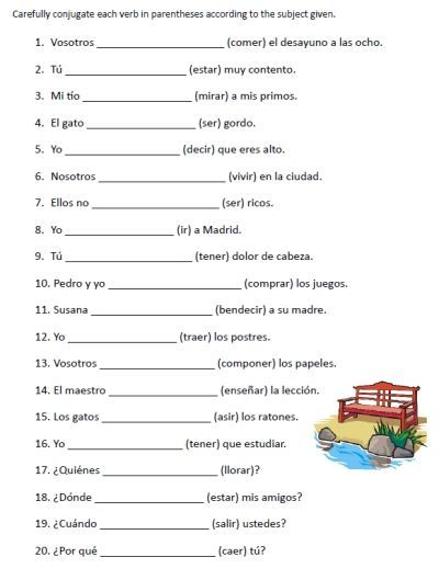free spanish verb conjugation sentences worksheets packet