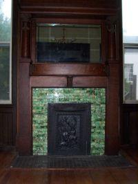 Green Mosaic Tile Fireplace Surround Plus Wood Mantel ...