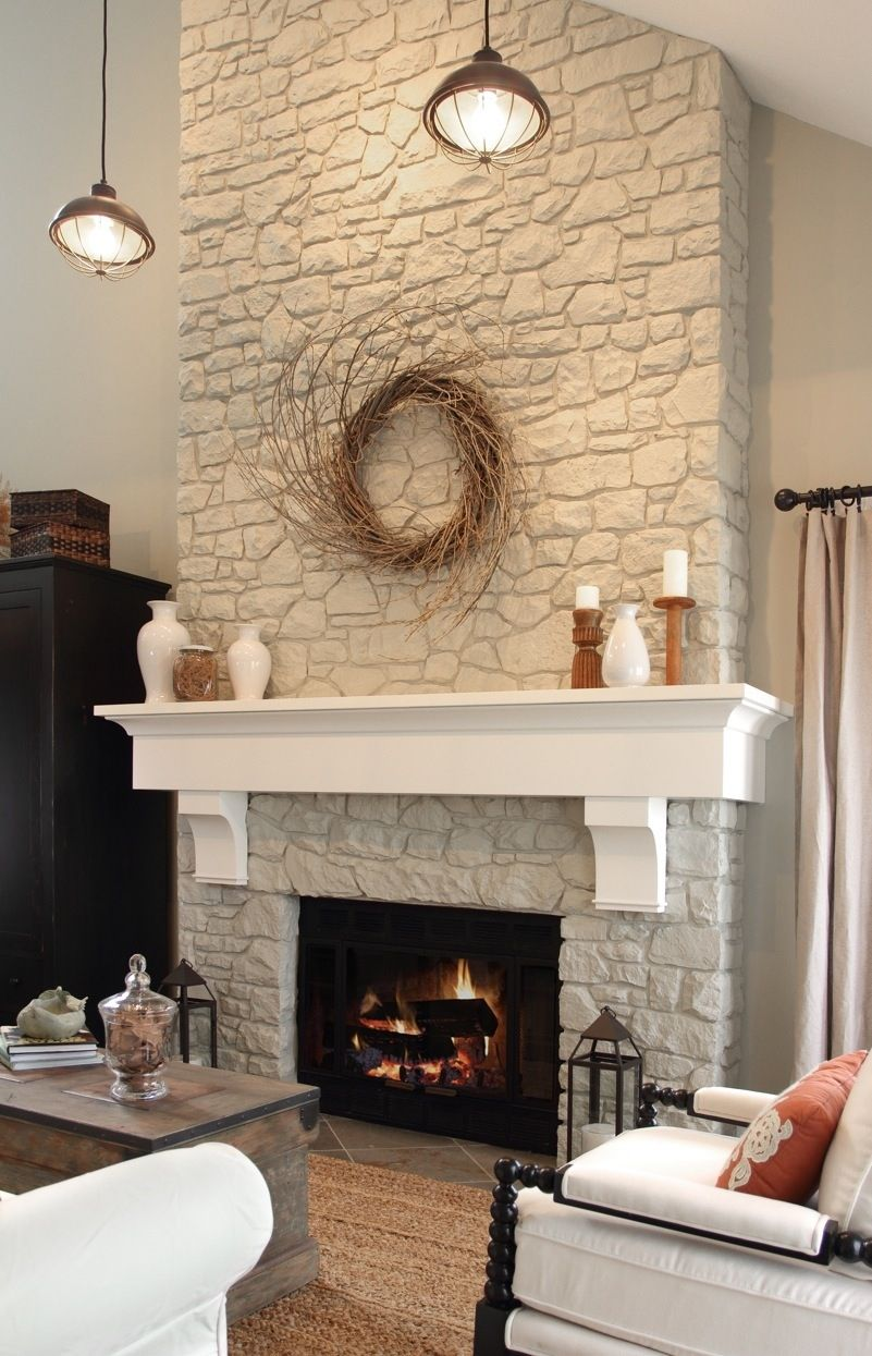 Fireplace Brick Paint Colors Fireplace And Mantel. Likes The Two Colors Of White. Would
