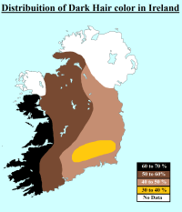 Distribution of Dark Hair color in Ireland Map | Maps ...