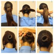 military bun long thick hair