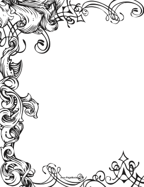 Three-fourths of this printable fancy border is made up of