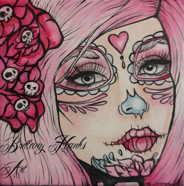 Day Of Dead Dia De Los Muertos Rockabilly Pin Girl