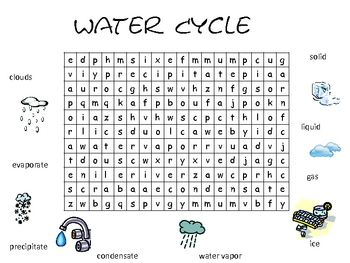 Water Cycle Vocabulary Word Search
