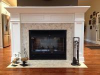Cream Herringbone Stone Mosaic Tile | Mosaic fireplace ...