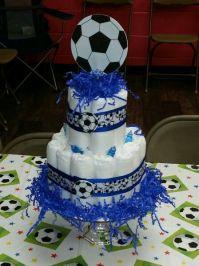Sport theme soccer diaper cake | baby shower ideas ...
