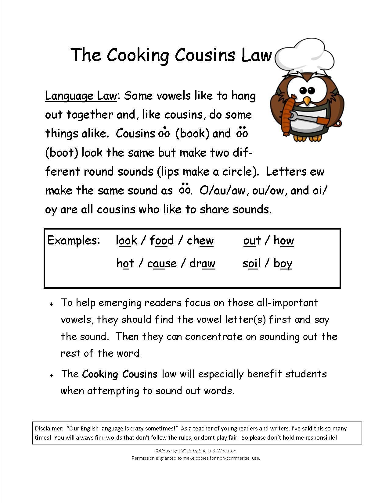 Cooking Cousins Teaches The Sounds Made By Oo Book Oo