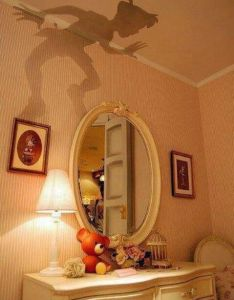All you do is place  peter pan cut out on top of any lamp and also this rh pinterest