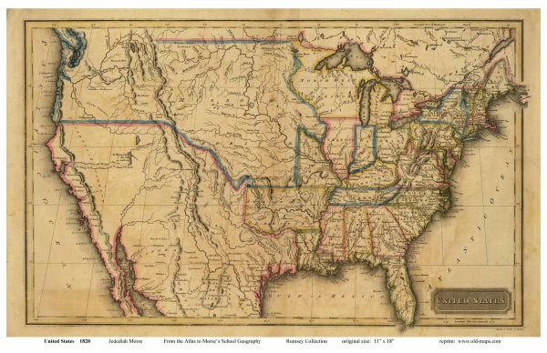 Old US map from early 1800s Maps Pinterest Genealogy