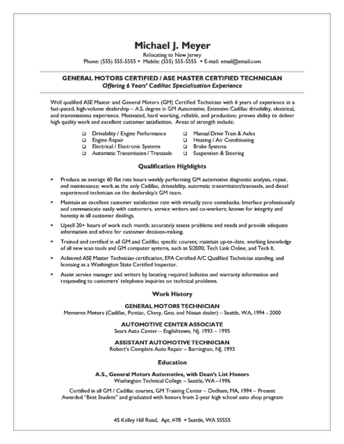 Auto Mechanic And Small Business Owner Resume Best Resume And CV