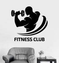 Vinyl Wall Decal Fitness Club Logo Gym Bodybuilding Sports ...