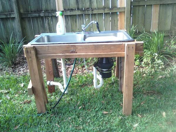 Old Kitchen Sink Sawhorses = Outdoor Sink HOME OUTSIDE