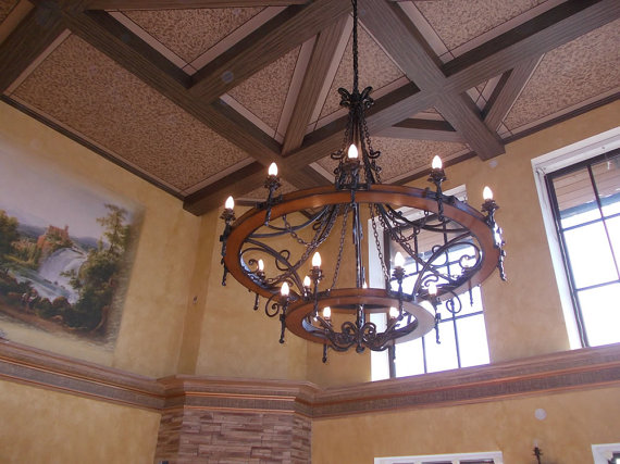 Large Wrought Iron Chandelier Wagon Wheel Style 18 By Artmetall 2700 00