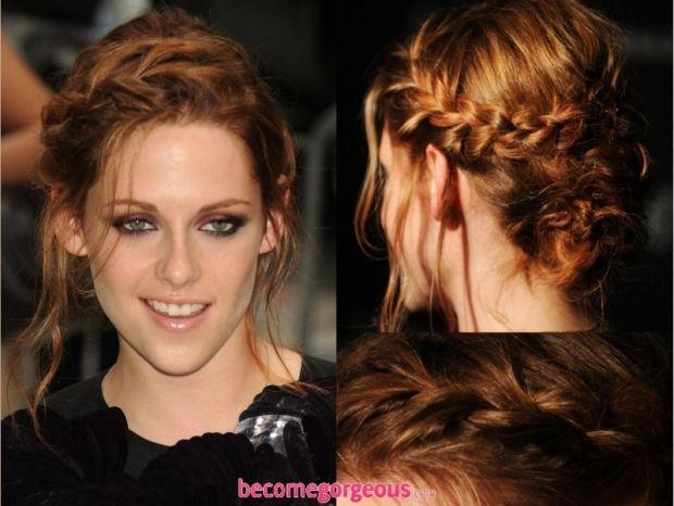 Braided Updo On Kristen Stewart Kenra Professional Hairstyle