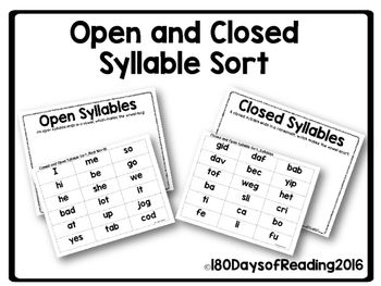 Have students practice sorting open and closed syllables