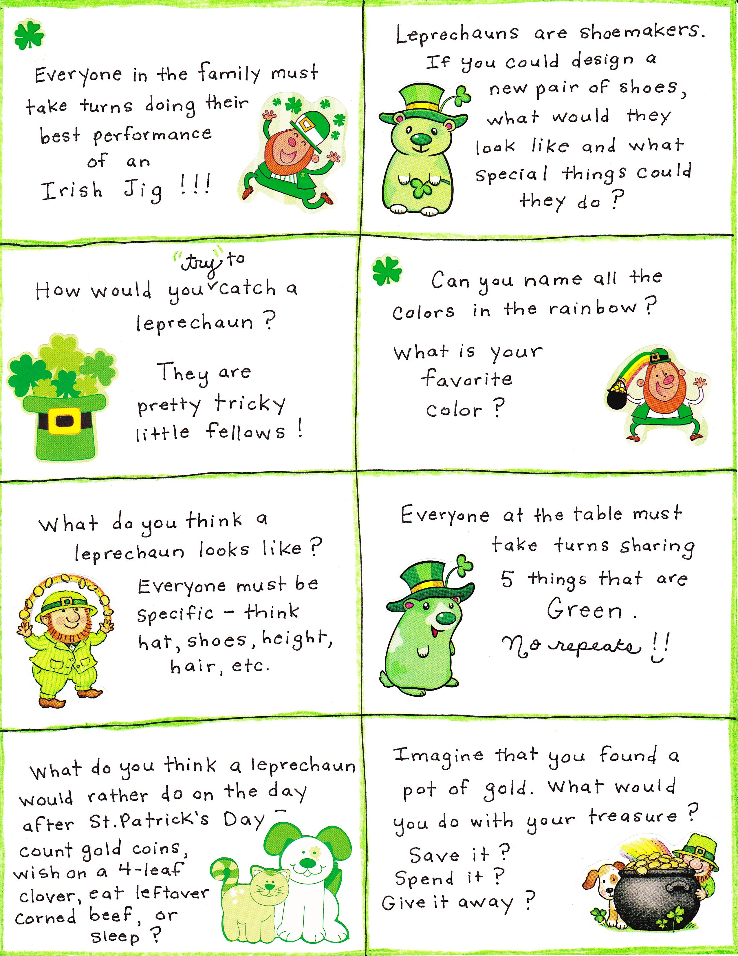 St Patrick S Day Conversation Cards