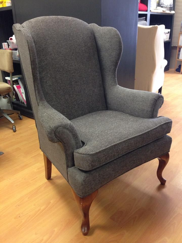 Reupholstered wing back chair Work by Custom Covers