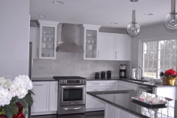 white kitchen with grey granite kitchens - Behr - Dolphin Fin - steel gray granite
