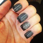 stylish acrylic gray nail art design