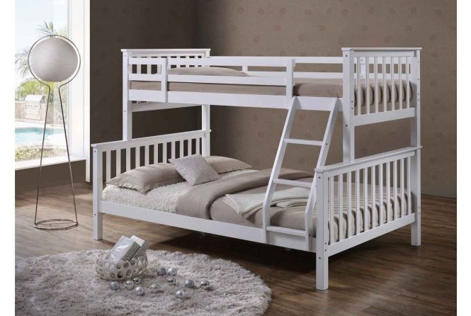 White Solid Wooden Wood Pine Triple Sleeper Bunk Bed Double Single Size In Home Furniture Diy Beds Mattresses