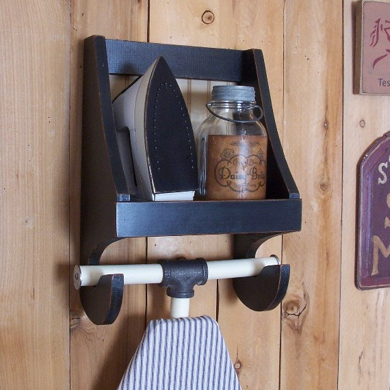 Primitive Ironing Board Holder for the Laundry Room