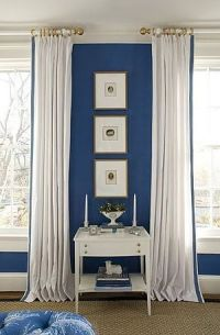 Bedroom by Kelley Proxmire with white curtains with blue ...