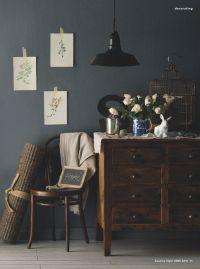 Bedroom colors someday... steel grey walls with dark wood ...